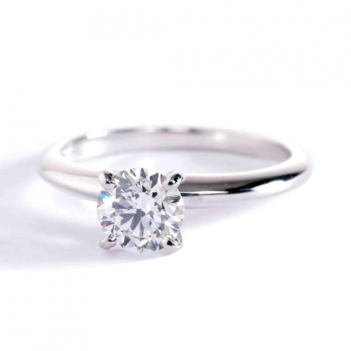 GIA 0.50 Ct SI2 H Classic RoundSolitaire Diamond Engagement Ring 18K-White Gold