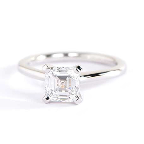 0.70 Ct VS2 F Simple Asscher Solitaire Diamond Engagement Ring 18K-White Gold