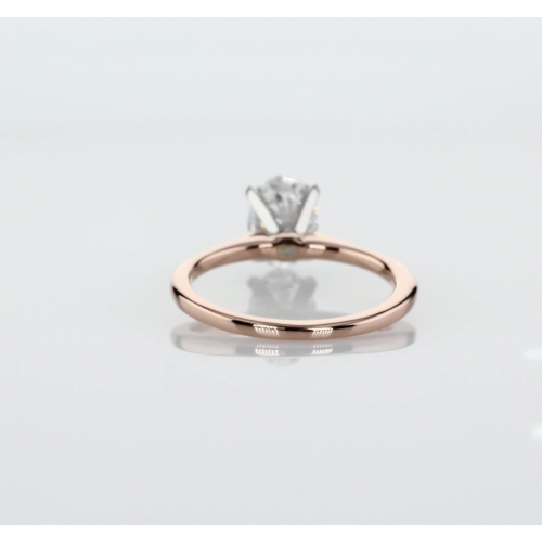 1 Carat SI2 D Simple Oval Cut Solitaire Diamond Engagement Ring 18K-Rose Gold