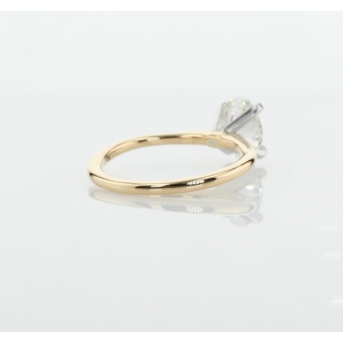 0.50 Ct SI2 F Simple Oval Cut Solitaire Diamond Engagement Ring 18K-Yellow Gold