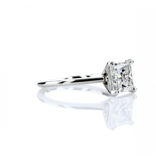 0.90 Ct VS2 F Simple Princess Solitaire Diamond Engagement Ring 18K-White Gold