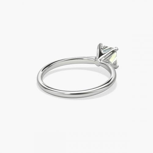 GIA 0.70 Ct VS2 F Petite Princess Solitaire Diamond Engagement Ring 18K Gold