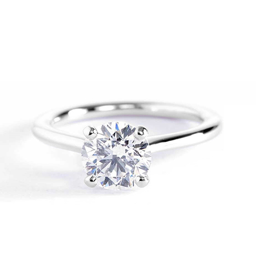 0.90 Ct SI2 D Petite Round Cut Solitaire Diamond Engagement Ring 18K-White Gold