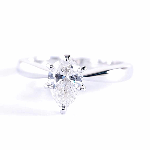 GIA 0.50 Ct SI2 D Bow Style Pear Solitaire Diamond Engagement Ring 18K Gold