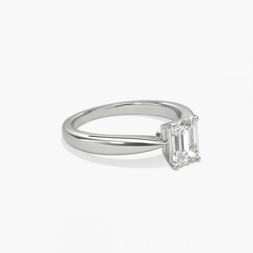 GIA 0.70 Ct VS2 F Tapered Bow Emerald Solitaire Diamond Engagement Ring 18K- Gold