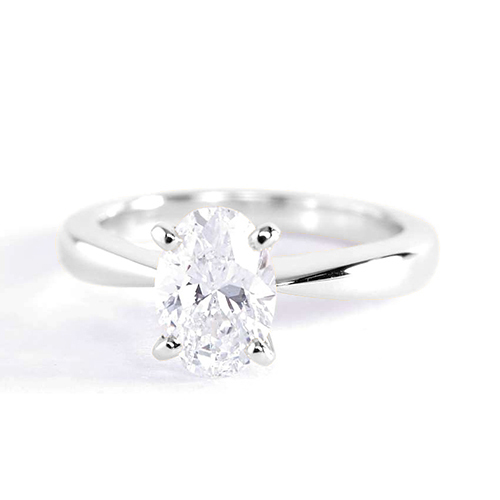 0.90 Ct SI2 F Tapered Bow Style Oval Solitaire Diamond Engagement Ring 18K- Gold