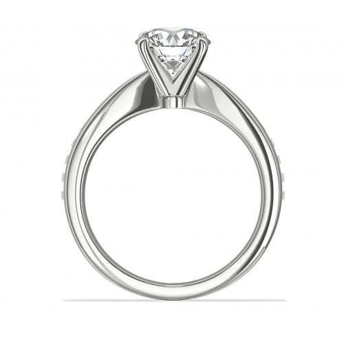 0.70 Ct SI2 F Tapered Bow Style Round Solitaire Diamond Engagement Ring Platinum
