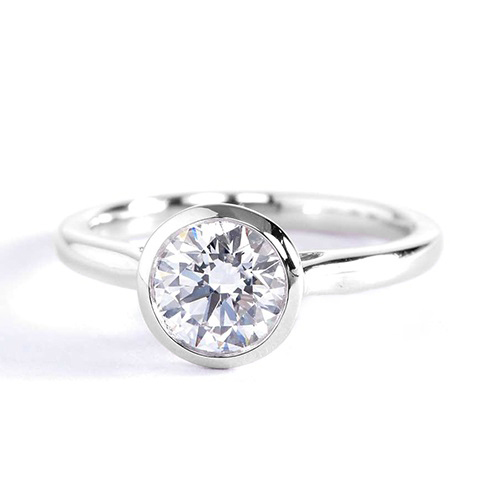 1 Ct SI2 F Classic Bezel Set Round Solitaire Diamond Engagement Ring Platinum