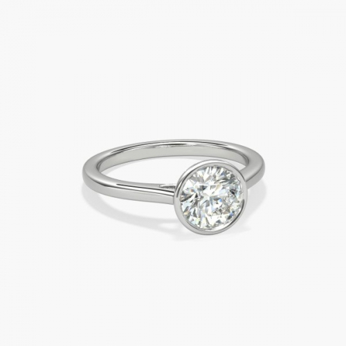 0.90 Ct SI2 F Bezel Set Round Solitaire Diamond Engagement Ring 18K- Gold