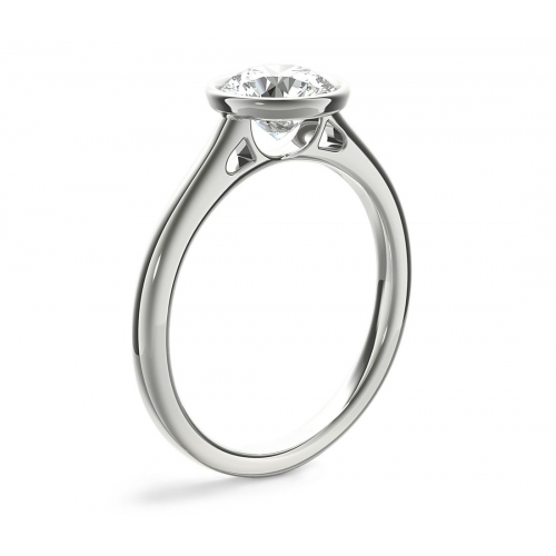 GIA 0.90 Ct SI2 F Bezel Set Round Solitaire Diamond Engagement Ring 18K- Gold