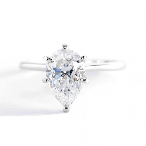 1 Carat SI2 D Petite Pear Cut Solitaire Diamond Engagement Ring Platinum