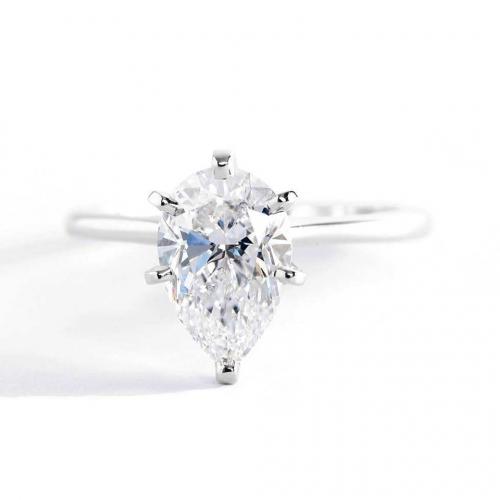1 Carat SI2 D Petite Pear Cut Solitaire Diamond Engagement Ring Platinum