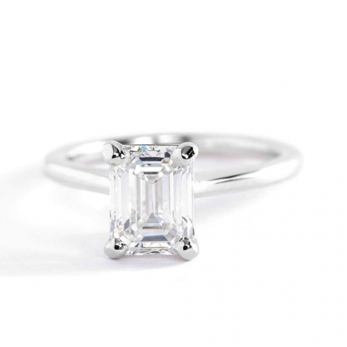 1 Carat SI1 F Petite Emerald Cut Solitaire Diamond Engagement Ring Platinum