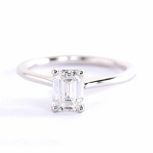 GIA 0.50 Ct VS2 F Petite Emerald Solitaire Diamond Engagement Ring 18K-White Gold