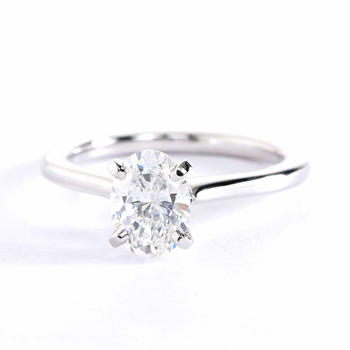 GIA Cert 0.70 Ct VS2 F Petite Oval Solitaire Diamond Engagement Ring Platinum