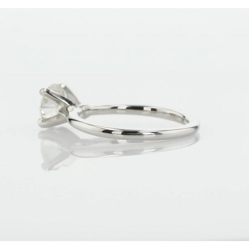 0.70 Carat SI2 D Petite Round Cut Solitaire Diamond Engagement Ring Platinum