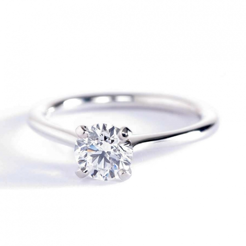 0.50 Carat SI2 D Petite Round Cut Solitaire Diamond Engagement Ring Platinum