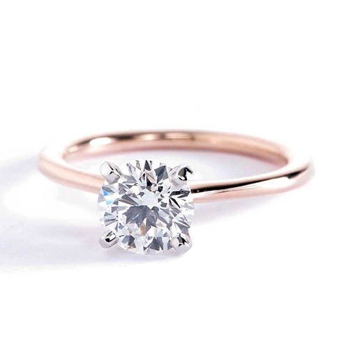 0.90 Ct SI2 F Petite Round Cut Solitaire Diamond Engagement Ring 18K-Rose Gold
