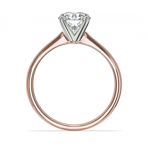1 Ct SI2 D Petite Round Cut Solitaire Diamond Engagement Ring 18K-Rose Gold
