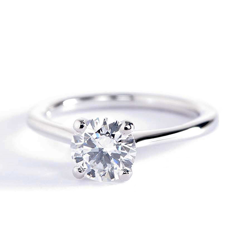 0.70 Ct SI2 D Petite Round Cut Solitaire Diamond Engagement Ring 18K-White Gold