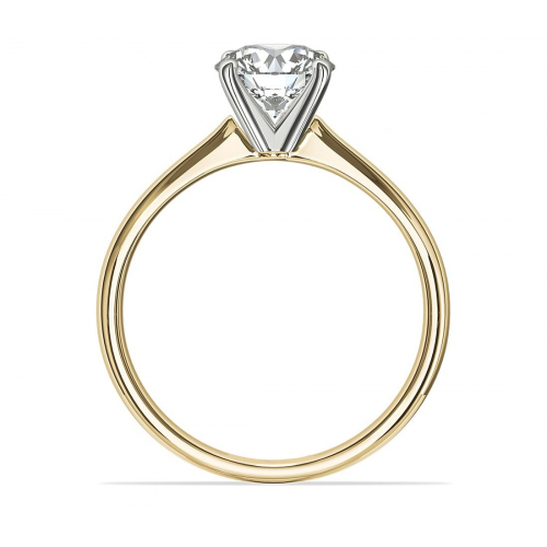 0.90 Ct SI2 D Petite Round Cut Solitaire Diamond Engagement Ring 18K-Yellow Gold