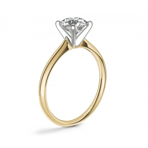 1.50 Cts SI2 F Petite Round Solitaire Diamond Engagement Ring 18K-Yellow Gold