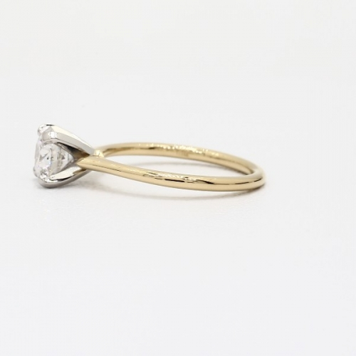 GIA 0.50 Ct SI2 F Petite RoundSolitaire Diamond Engagement Ring 18K-Yellow Gold