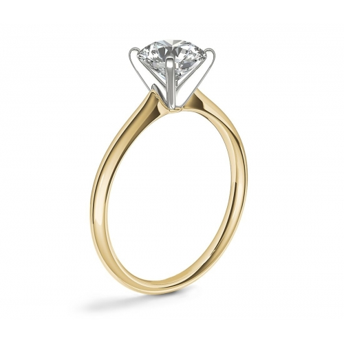 GIA 0.50 Ct SI2 F Petite RoundSolitaire Diamond Engagement Ring 18K-Yellow Gold