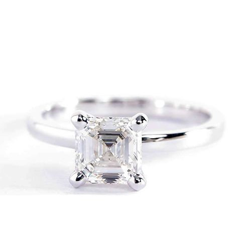 0.90 Ct SI2 F Comfort Fit Asscher Solitaire Diamond Engagement Ring 18K- Gold