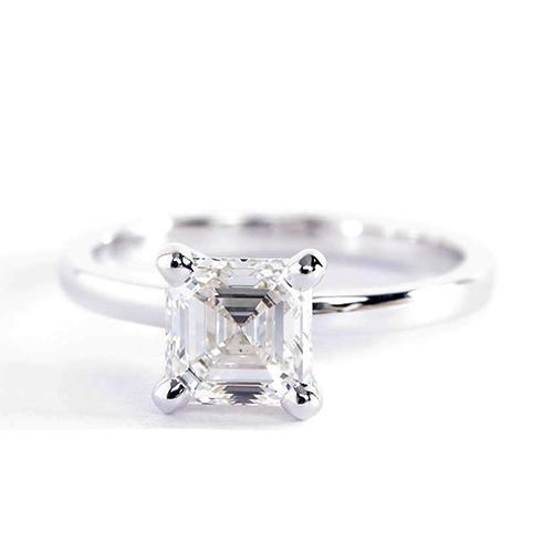 0.90 Ct SI2 F Comfort Fit Asscher Solitaire Diamond Engagement Ring 18K- Gold