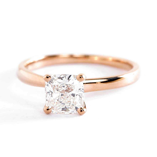 0.90Ct SI2 D Comfort Fit Cushion Solitaire Diamond Engagement Ring 18K-Rose Gold