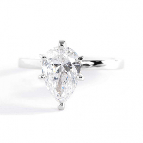 1 Carat SI2 F Comfort Fit Pear Cut Solitaire Diamond Engagement Ring Platinum