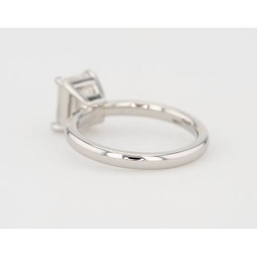 0.90 Ct SI1 F Comfort Fit Emerald Cut Solitaire Diamond Engagement Ring Platinum