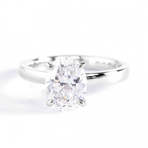 1 Carat VS2 F Comfort Fit Oval Cut Solitaire Diamond Engagement Ring Platinum