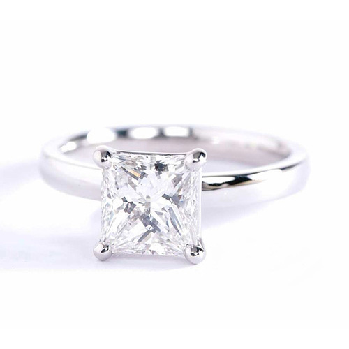 1 Ct SI2 D Comfort fit Princess Solitaire Diamond Engagement Ring 18K-White Gold