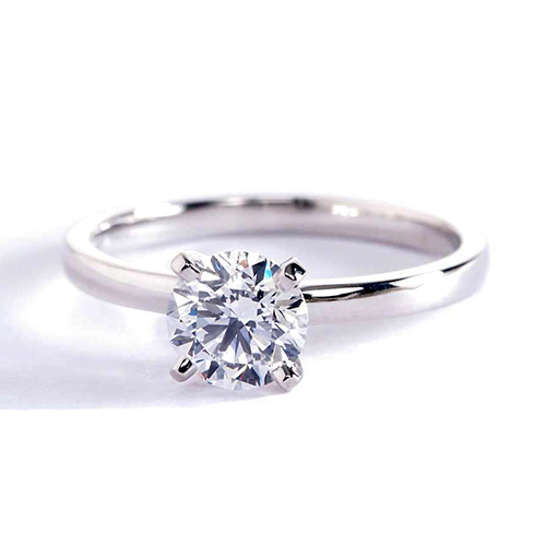 0.90 Ct SI2 D Comfort Fit Round Cut Solitaire Diamond Engagement Ring Platinum