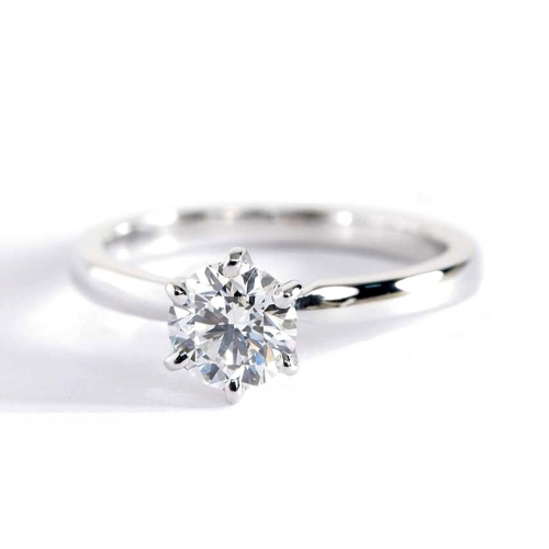 GIA 0.50 Ct VS2 F Comfort Fit Round Solitaire Diamond Engagement Ring Platinum
