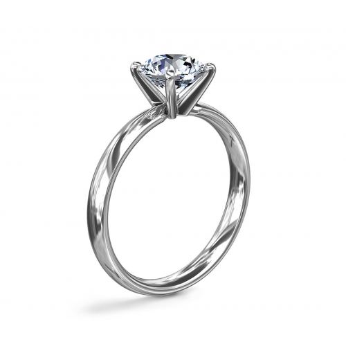 1 Ct SI2 F Comfort Fit Round Solitaire Diamond Engagement Ring 18K-White Gold
