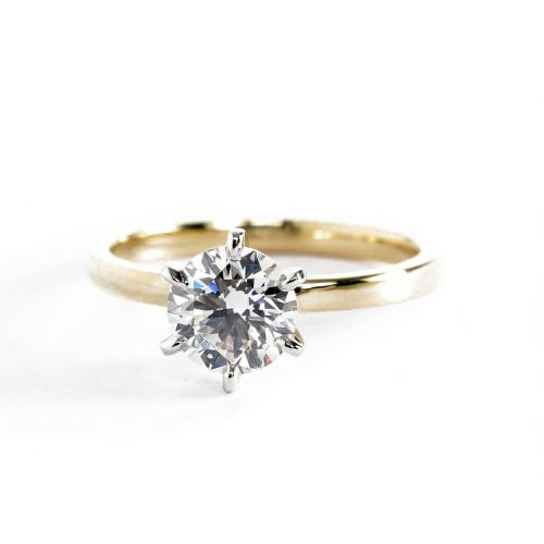 GIA 0.90Ct SI2 F Round Cut Solitaire Diamond Engagement Ring 18K-Yellow Gold