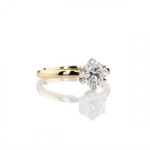 0.90Ct SI2 F Comfort Fit Round Solitaire Diamond Engagement Ring 18K-Yellow Gold