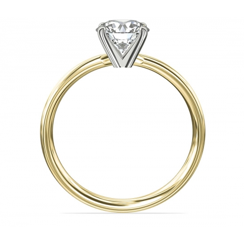1 Ct SI2 H Comfort Fit Round Solitaire Diamond Engagement Ring 18K-Yellow Gold
