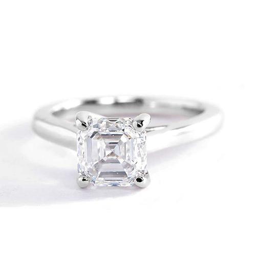 0.90 Ct VS2 H Cross Prongs Asscher Solitaire Diamond Engagement Ring 18K- Gold