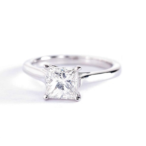 1 Ct VS2 F Cross Prongs Princess Solitaire Diamond Engagement Ring Platinum