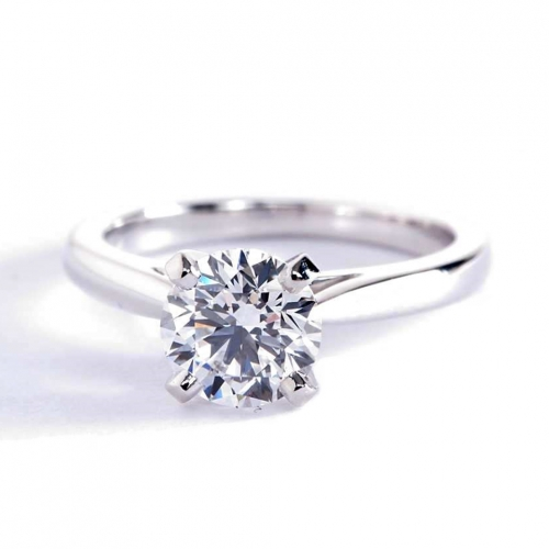 GIA1 Ct SI2 D Classic Cathedral Round Solitaire Diamond Engagement Ring Platinum