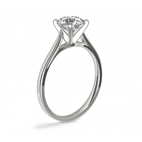 0.90Ct SI2 F Classic Cathedral Round Solitaire Diamond Engagement Ring 18K- Gold