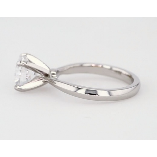 1 Ct SI2 F Knife Edge Round Solitaire Diamond Engagement Ring 18K-White Gold