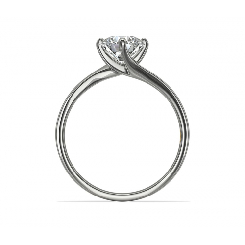 GIA0.70 Ct SI2 D Twist Prongs RoundSolitaire Diamond Engagement Ring Platinum
