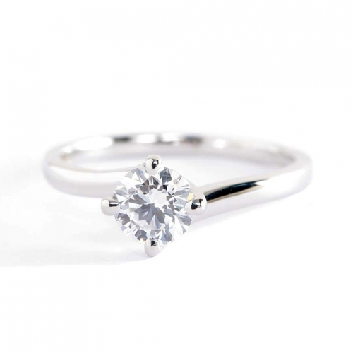 0.50 Ct SI2 F Twist Prongs Round Solitaire Diamond Engagement Ring 18K- Gold