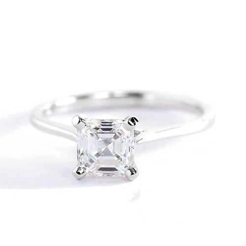 0.90 Ct VS2 F Tapered Petite Asscher Solitaire Diamond Engagement Ring 18K- Gold
