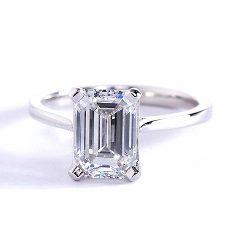 1 Ct VS2 F Tapered Petite Emerald Solitaire Diamond Engagement Ring 18K- Gold